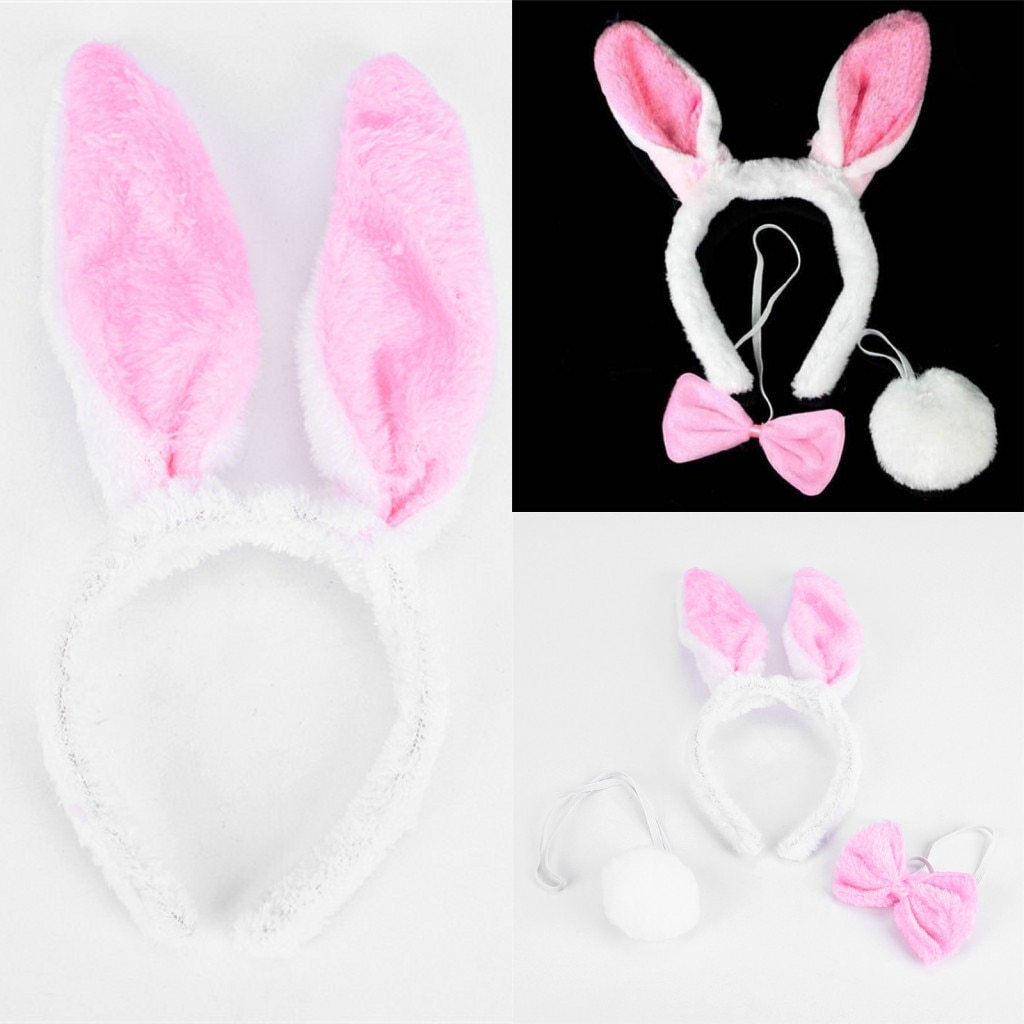 1 conjunto meninas coelho coelho orelhas bandana cauda gravata festa de aniversário traje prop banho chuveiro headwear conjunto