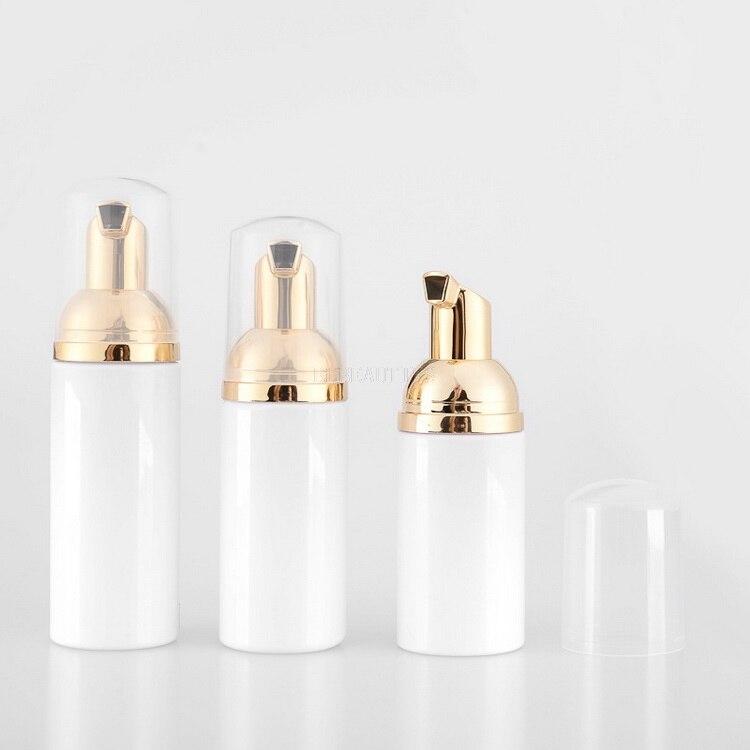 30/50/60/80ml cosmetic facial Cleanser wash cream Plastic pet white liquid soap Foam bottle with golden foamer pump 100Pcs/lot