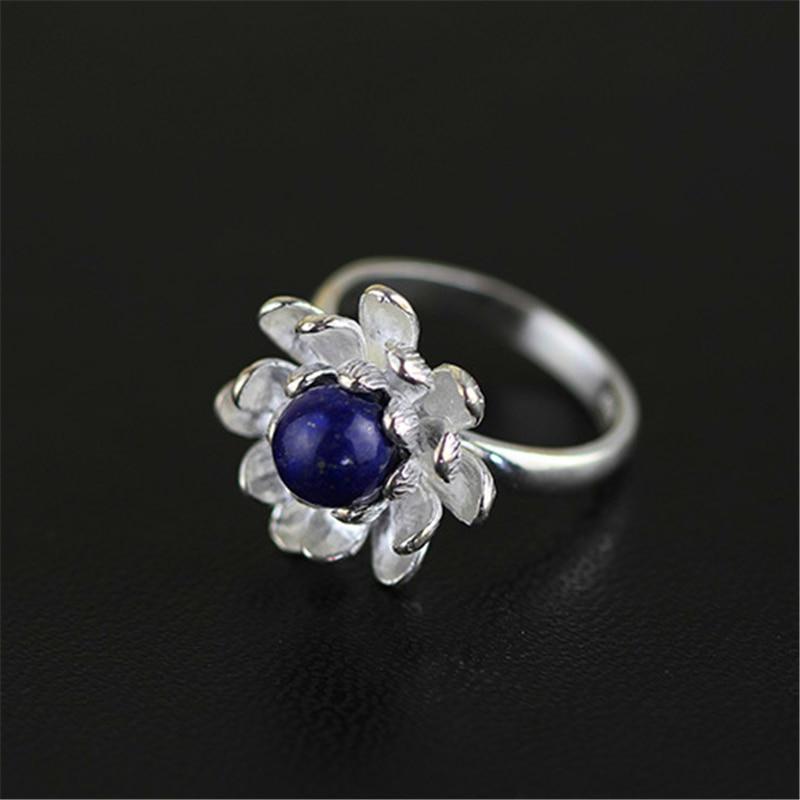 Lotus Fun Plata de Ley 925 auténtica anillo azul Natural Lapiz diseñador hecho a mano joyería fina flor de loto flor anillos