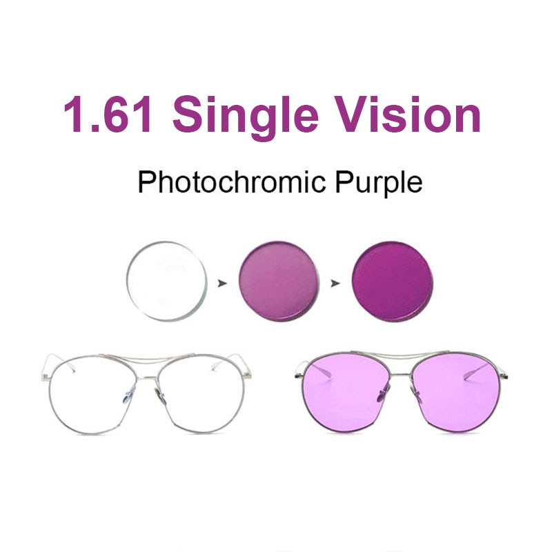 1.61 Lentes Fotocromáticas Rosa ou Azul ou Roxo Faixa de Visão Única Lente SPH-8.00 ~ + 6.00 Max CLY- 6.00 Lentes Ópticas para Óculos