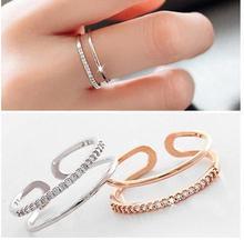 Anillos de cristal multicapa de Color plata coreana para mujer, regalos de fiesta de boda para niñas, anillos abiertos para dedos, joyería de moda