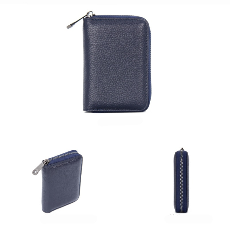Купить с кэшбэком Genuine Leather Women Business Card Holder Wallet Bank Credit Card Case ID Holders Rfid Wallet Ladies Coin Purse Small Wallet