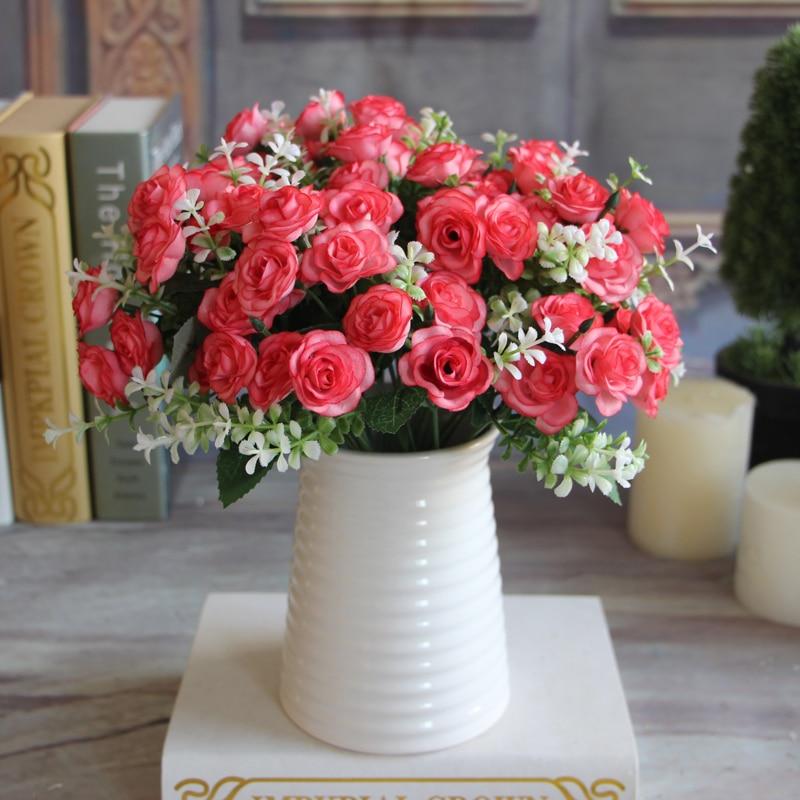 Pretty Charming Wedding Decoration 15 Buds 1 Bouquet Mini Rose Artificial Silk Flower Bride Bridal Home Decal