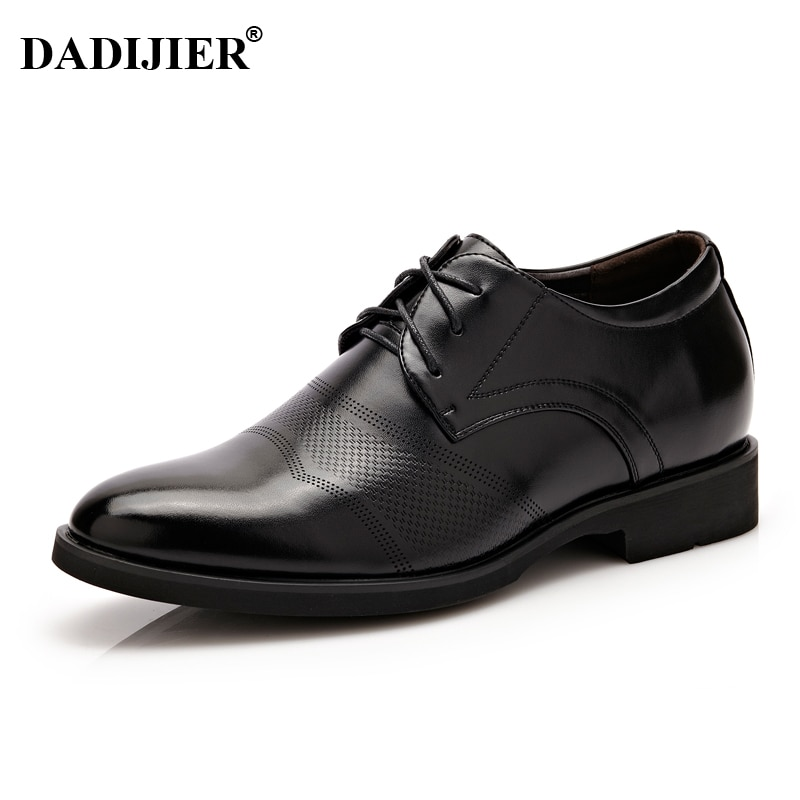 DADIJIER Height increasing 6cm Men Dress shoes Split Leather Oxford shoes Brown Black Wedding Business Shoes Men ST74