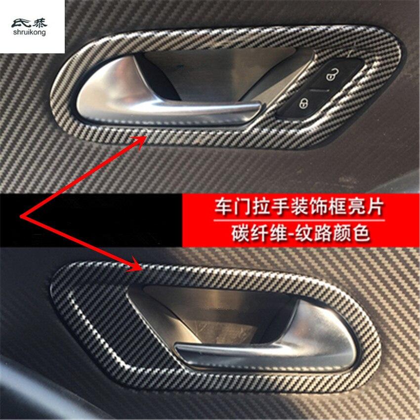 2 unids/lote fibra de carbono grano interior de ABS puerta shake handshandle decoración cubierta para 2009-2016 Volkswagen VW Scirocco 137 138
