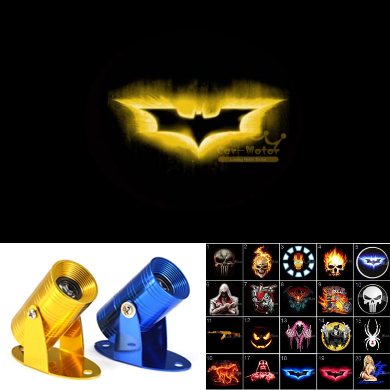 3D Yellow Batman Logo Motorcycle Ghost Shadow Spotlight Laser Projector LED Logo Light