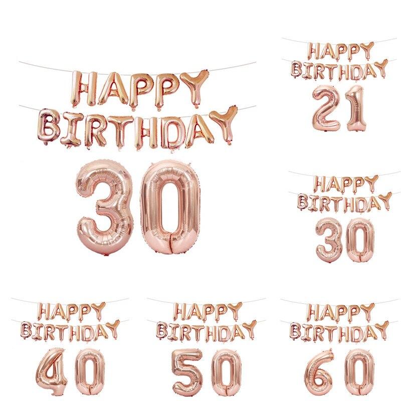 FUDANL 15 Uds 16 pulgadas Rosa número dorado carta globos de fiesta de cumpleaños 18 21 30 40 50 60th adulto decoración de fiesta de cumpleaños
