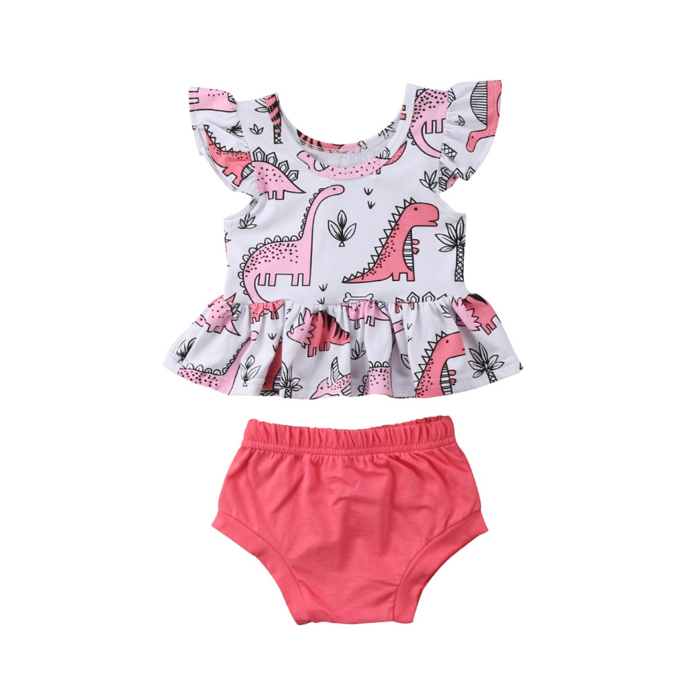 2 piezas Niño pequeño bebé niña manga volante dinosaurio Tops Tee + triangular pantalones cortos trajes ropa de bebé