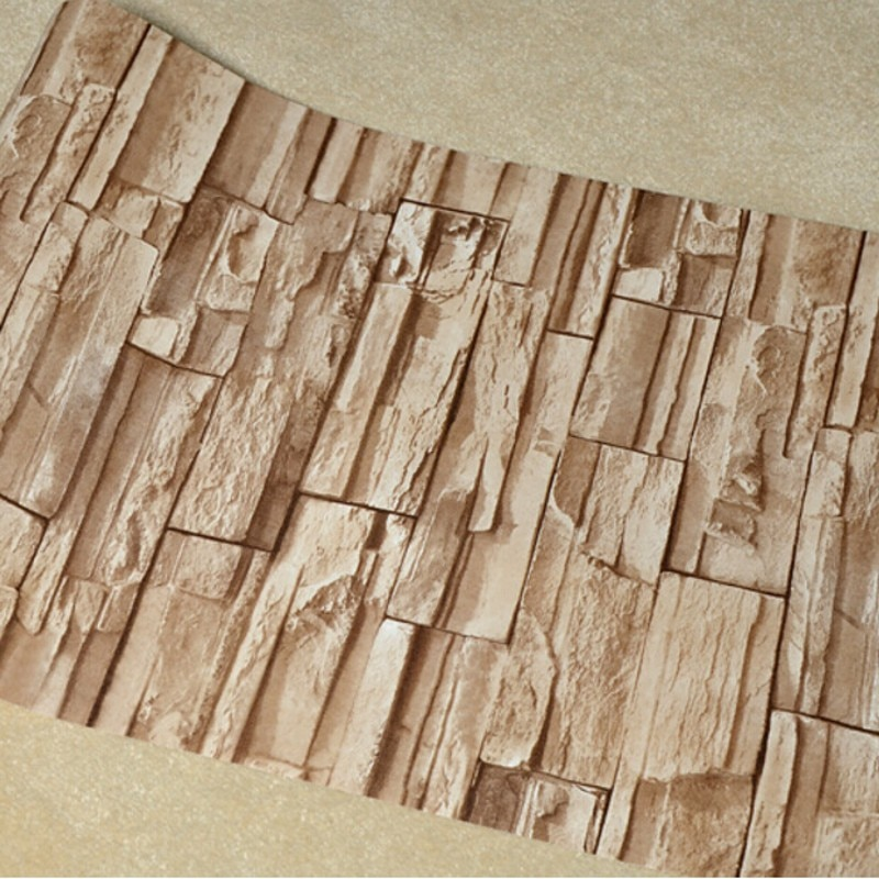 Beibehang 石レンガの壁 3D 壁紙ロールモダンレトロ pvc ビニール壁ベッドルームのリビングルームの背景の壁紙 3 d