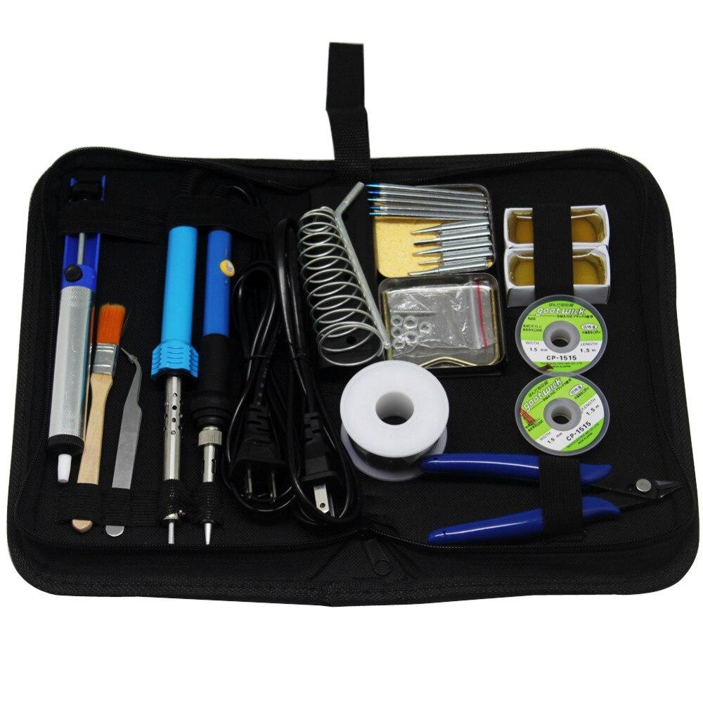 Caja de Herramientas de puntas de hierro termoeléctrico AideTek 23in1 30W 60W Kit de pistola para soldar SPE2
