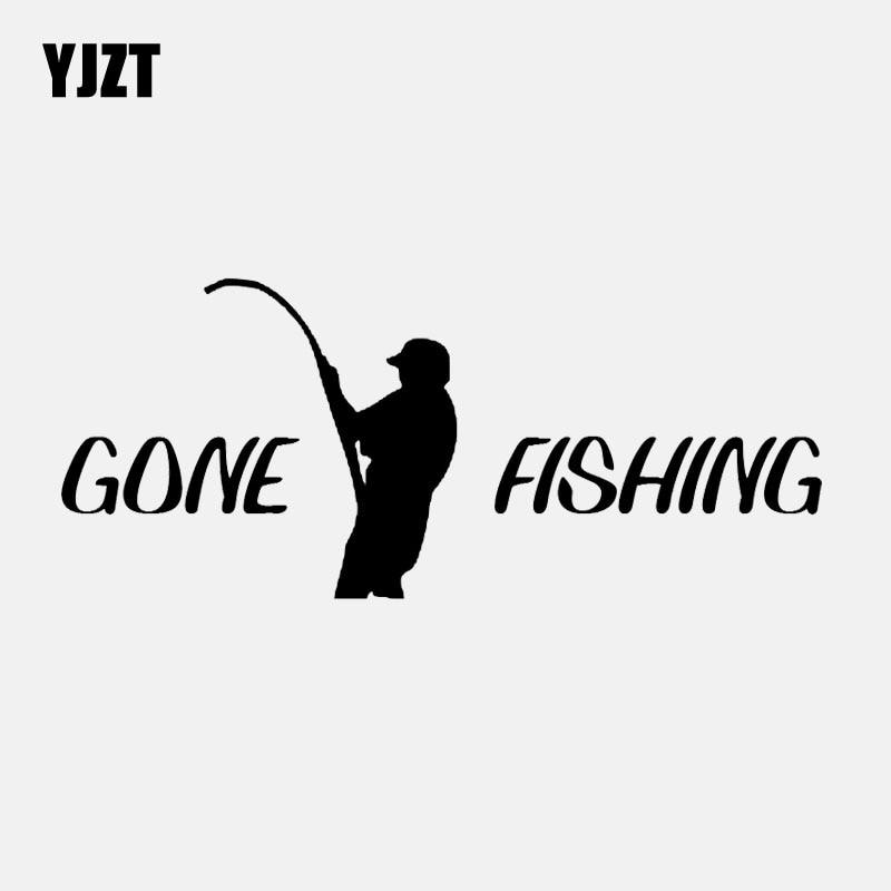 YJZT 16,9 CM * 7,2 CM ido de Pesca del Océano de agua salada coche pegatina pegatinas de vinilo para ventana decoración negro/plata C24-0688