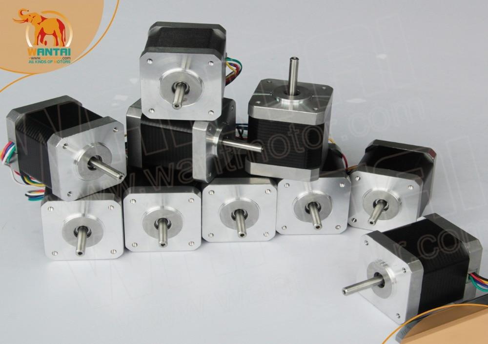(Eu Free, German Ship ) 10PCS Nema17 Stepper Motor 42BYGHW609L20P1-X2 ,4000g.cm,1.7A Robot 3D I3 Makebot Reprap Printer(CE,ROSH)