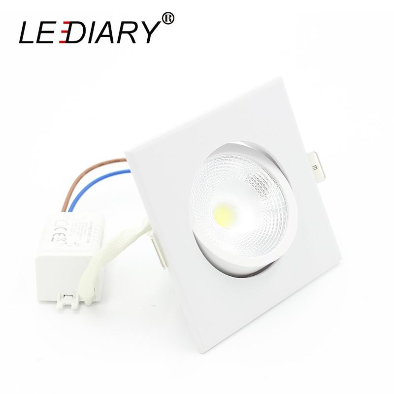 LEDIARY cuadrado blanco LED COB Downlights cálido blanco frío Super brillante 5W 100-240V 75mm corte agujero Spot lámpara de la sala de estar iluminación
