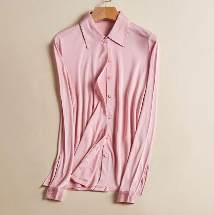 50% Silk 50% Viscose Women's Stretchy Collar Shirt Base Layer Long Sleeve T-Shirts Top OT000