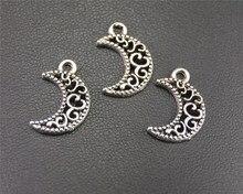 50pcs  Silver Color Hollow Out Mini Moon Charm DIY Necklace Bracelet Bangle Findings 12X18mm A1964