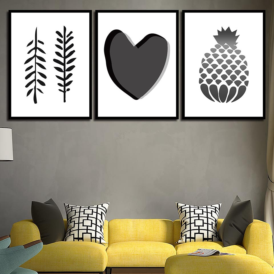 Coração preto e Branco Folha de Abacaxi Impressão Da Arte Da Lona Pinturas Pintura Minimalista Nordic Estilo Pictures para Sala de estar