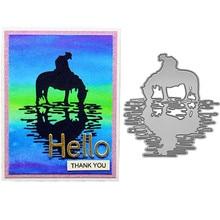 Ufurty Cowboy Horse Lake Shadow Handcraft Metal Cutting Dies Embossing Die Stencil for DIY Scrapbooking Album Card Decorative