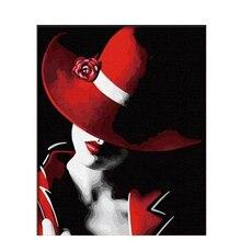 Chapeau rouge femme   Peinture faite à la main de haute qualité, toile belle peinture à numéros cadeau de Surprise, grand succès