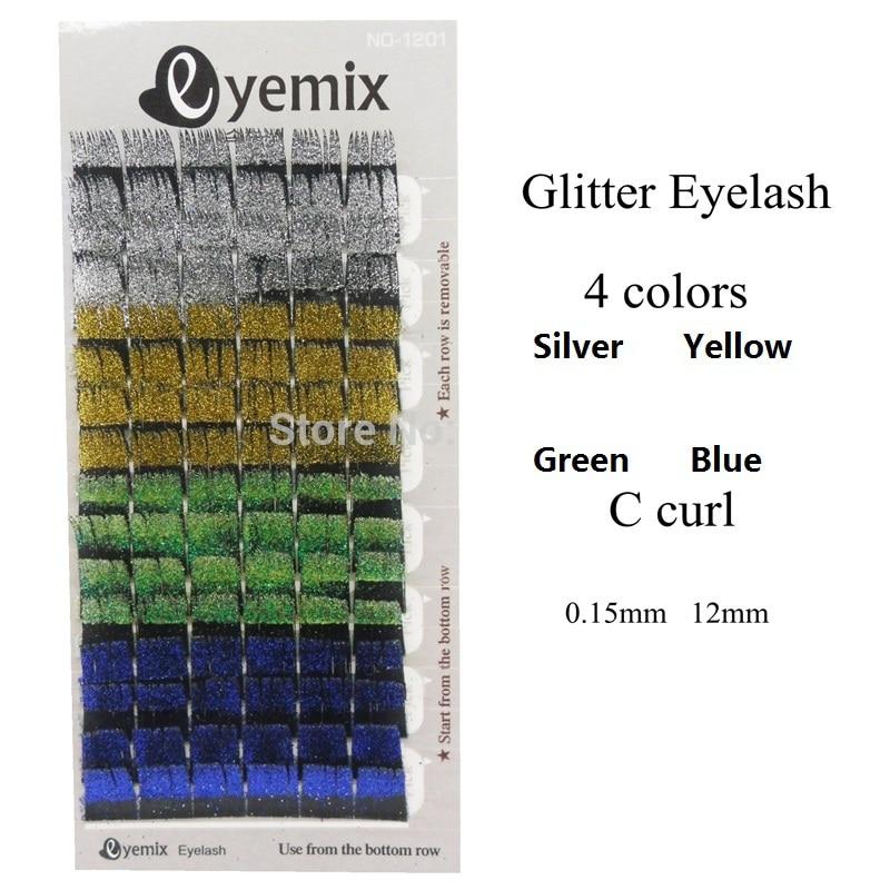 Eyemix, pestañas con purpurina de alta calidad, 4 colores, extensión de pestañas individuales, pestañas postizas parpadeantes, envío gratuito