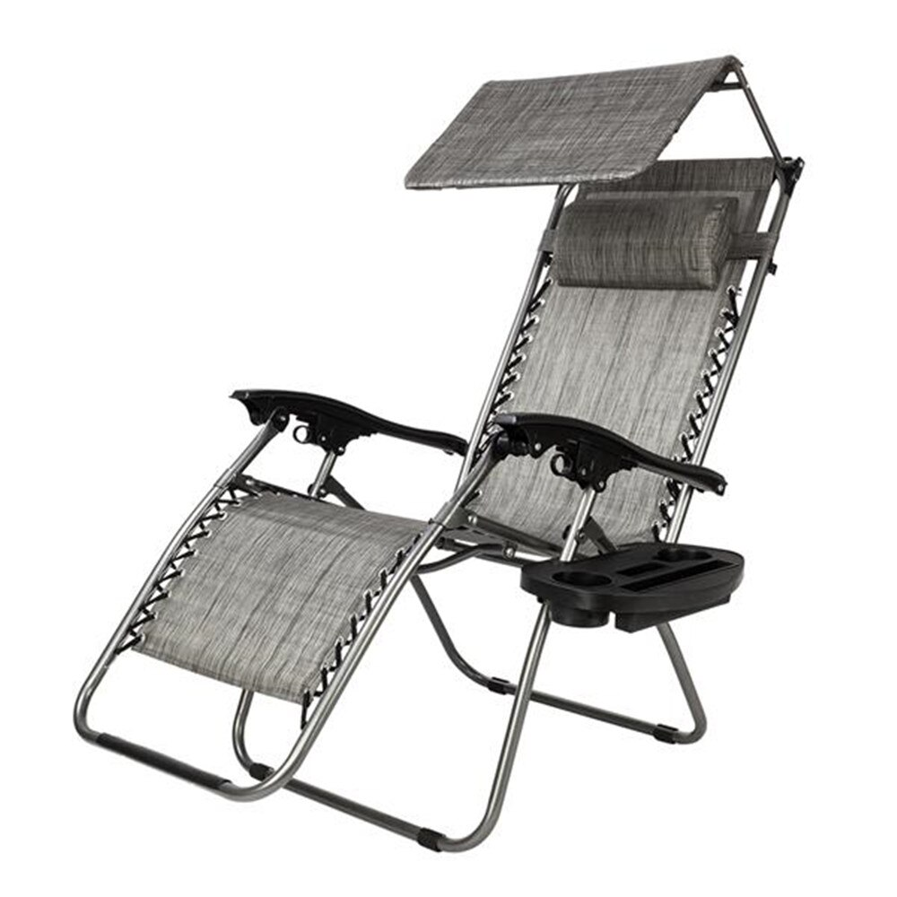 Zero Gravity Lounge Chair con toldo Silla de ocio gris al aire libre Gravity Lounge Chair Beach Patio Pool Yard reclinable plegable