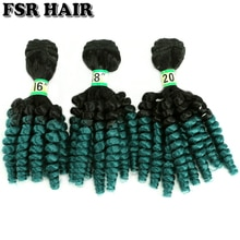 Mèches Afro synthétiques bouclées Funmi noir à vert-FSRHAIR   70 gram/pièces, extension capillaire Ombre, produit capillaire