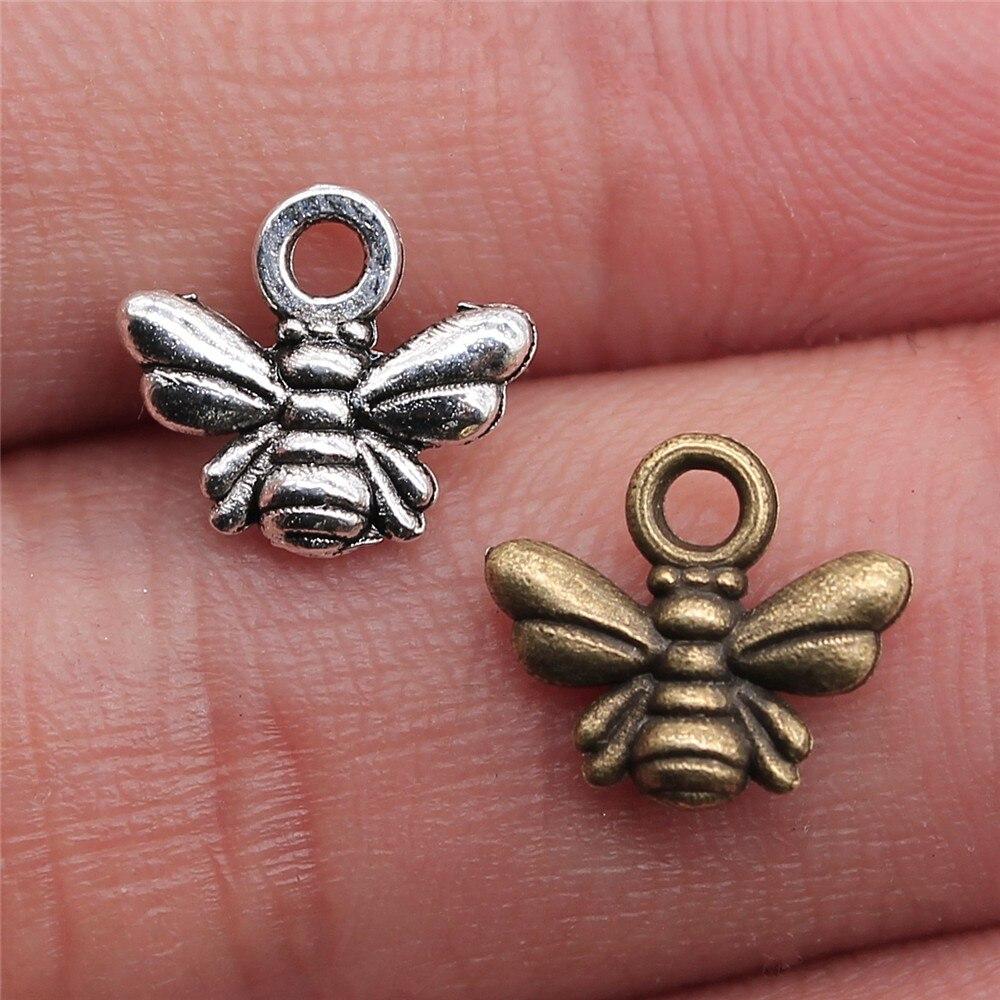 WYSIWYG 100 Uds 10x11mm 2 colores pequeños de bronce envejecido encantos de abeja colgantes para joyería haciendo encanto de abeja