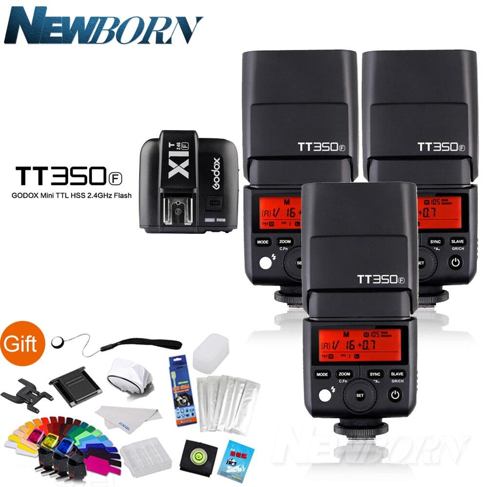 3 XGodox FlashSpeedlite TTL TT350F Haute Vitesse 1/8000 s GN36 2.4G Système X sans fil + Émetteur Déclencheur X1T-F Kit Pour Fuji Fujifilm