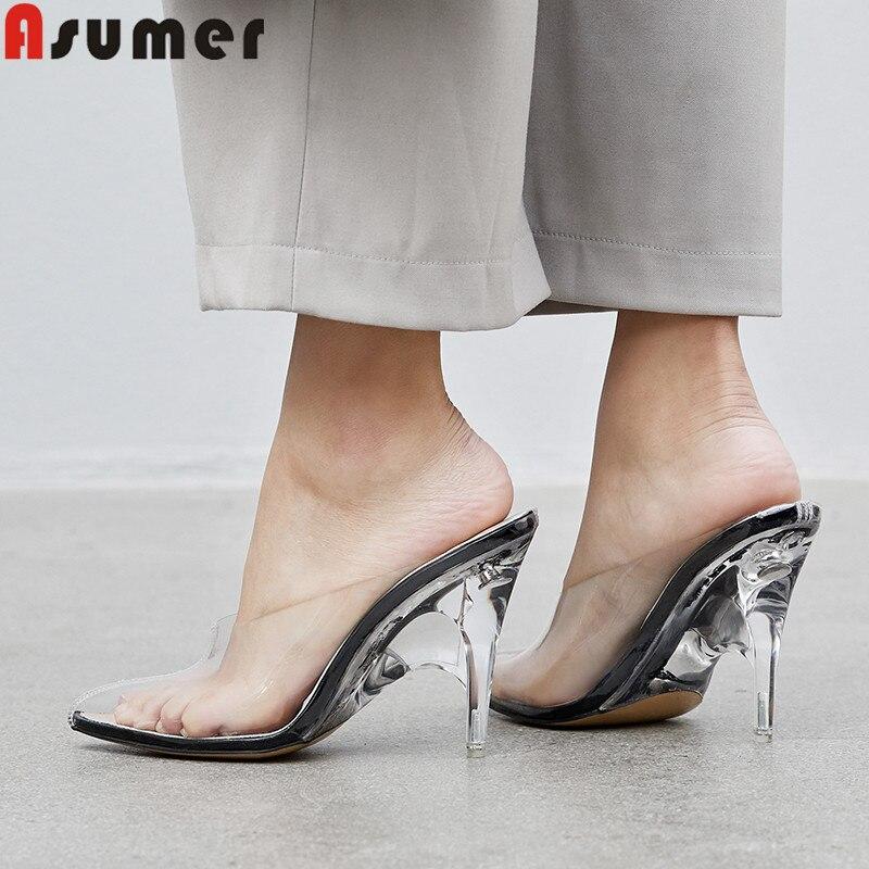 ASUMER, moda Primavera otoño 2020, nuevos zapatos para mujer, punta estrecha, talón bajo, piel de oveja, interior de PVC, zapatos de tacón alto para mujer