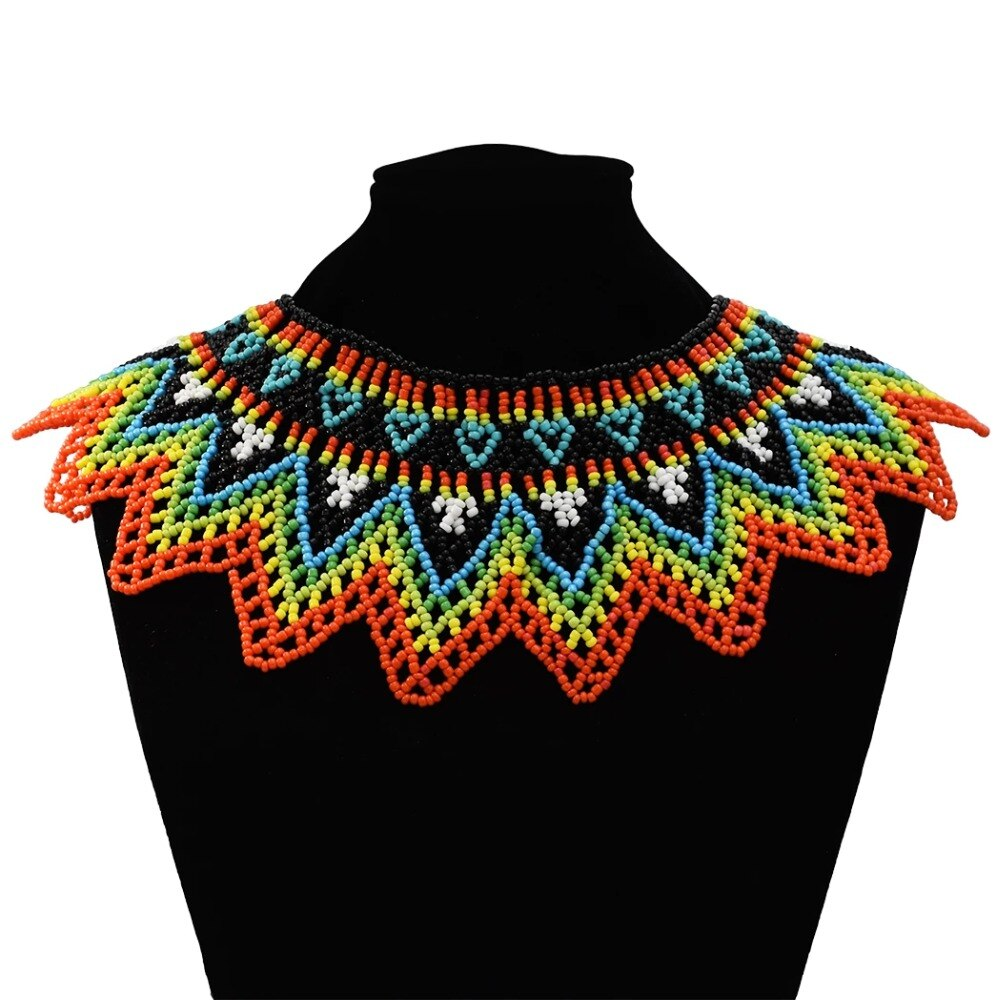 Africana hecha a mano Vintage resina cuentas cadena gruesa para babero Collar declaración Collar étnico bohemio Maxi collares para mujeres