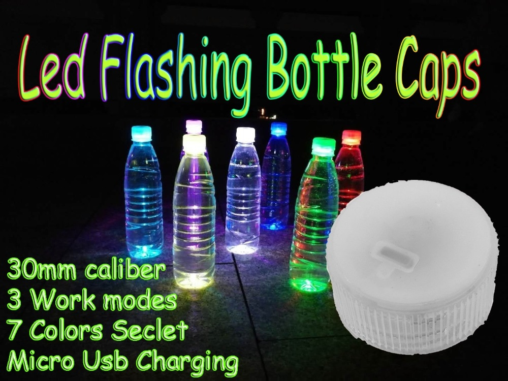 Tapa de botella LED intermitente multipropósito de 30mm de diámetro, tapa de botella de carga Micro USB utilizada para luz nocturna, fiesta, viaje