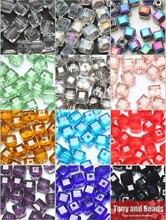 2lots de réduction 10%! (100 pièces/lot) perles entretoises en cristal de verre à facettes carrées 4mm pour la fabrication de bijoux 17 couleurs livraison gratuite