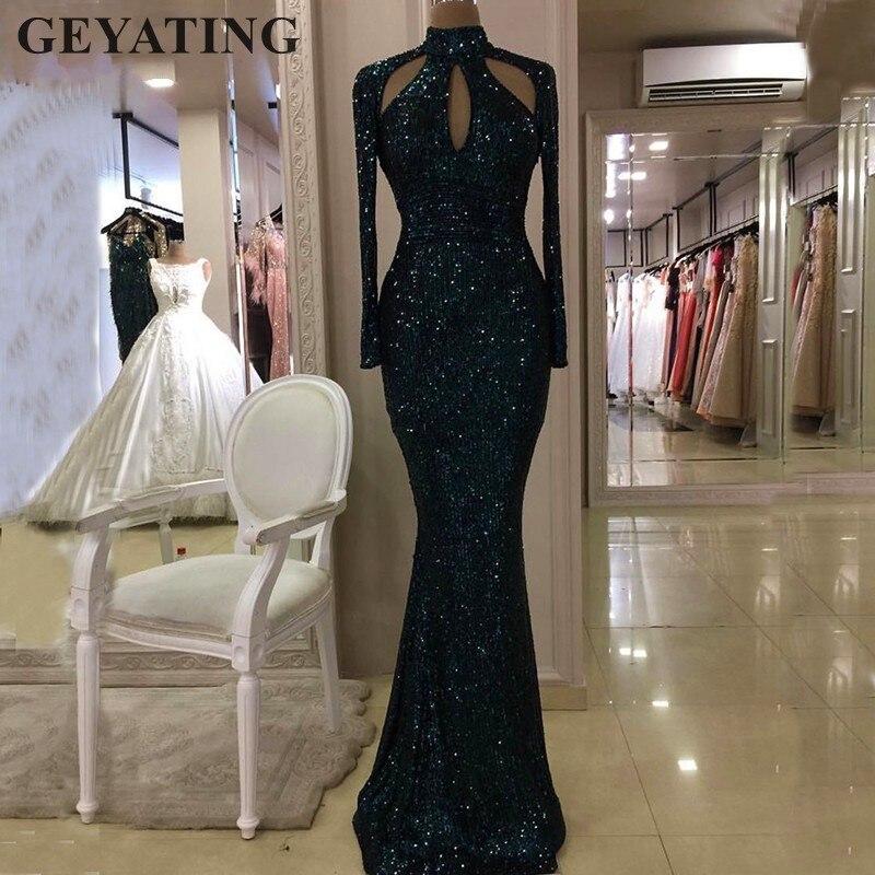 Темно-зеленое вечернее платье Русалочки с высоким воротом и блестками, 2020, длинное Золотое Платье с вырезом и длинными рукавами для выпускного бала, праздничные платья
