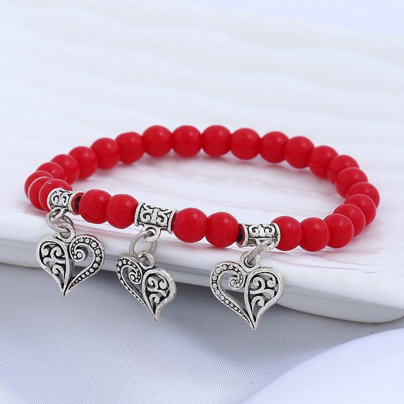Casual Chakra rojo de la suerte de cristal rojo curación corazón elefante rezar pulsera femenina para las mujeres Lava joyería de cuentas DIY pulseras de las mujeres