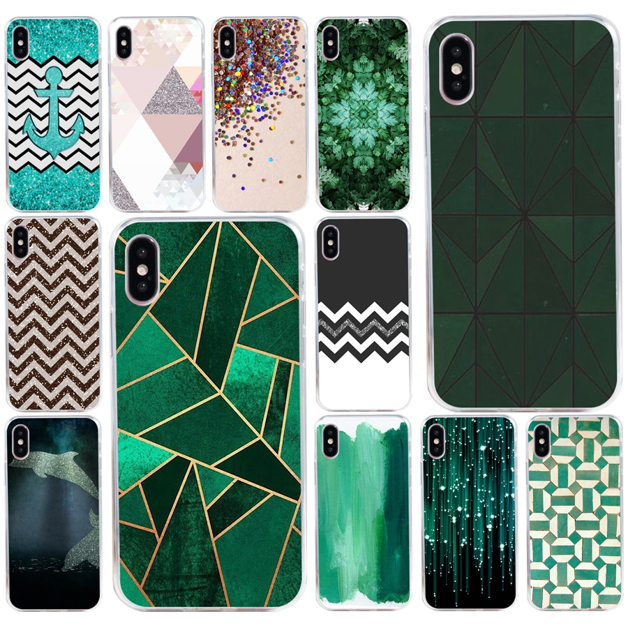 171AQ hermosa Esmeralda verde purpurina suave silicona Tpu funda de teléfono para iPhone 5 y 5s se X XR XS Max funda