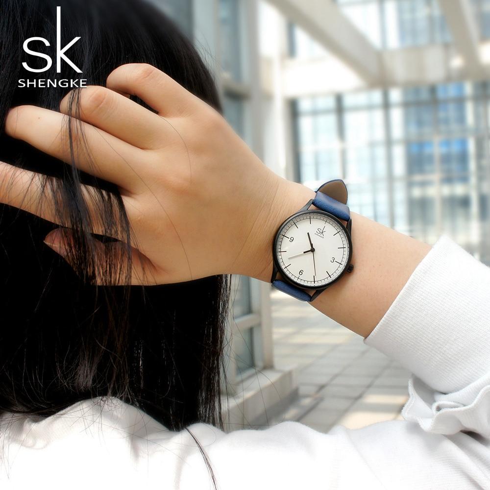 SK Watch Women Shengke Brand Elegant Retro Watches Fashion Ladies Quartz Watches Clock Women Casual Leather Women's Wristwatches enlarge