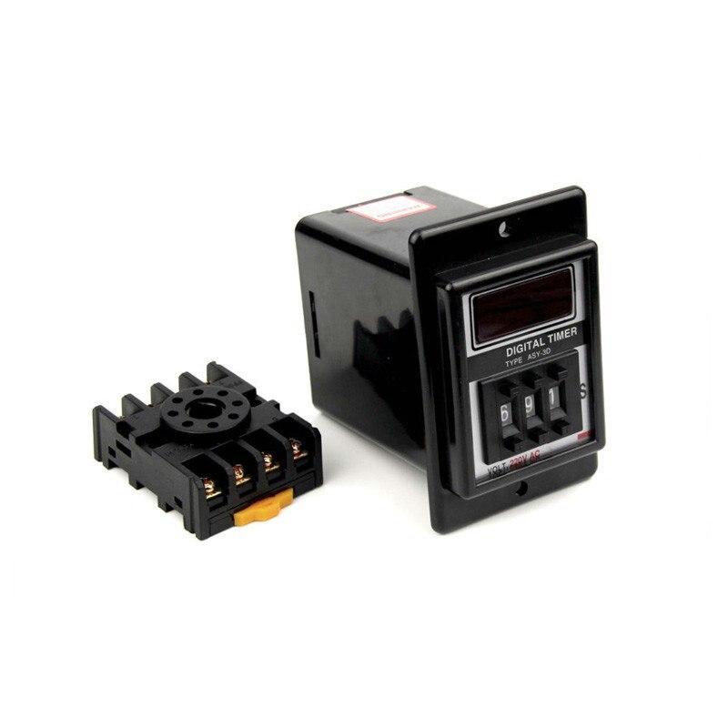ASY-3D 1S - 999S Digital Timer Time Delay Relay AC220V/380V/110V DC12V/24V with Base