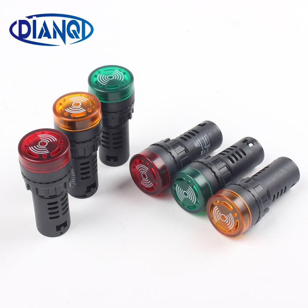 1pc colorido AD16-22SM 12 v 24 v 220 v 22mm luz de sinal flash led vermelho ativo buzzer sinal sonoro indicador de alarme vermelho verde amarelo