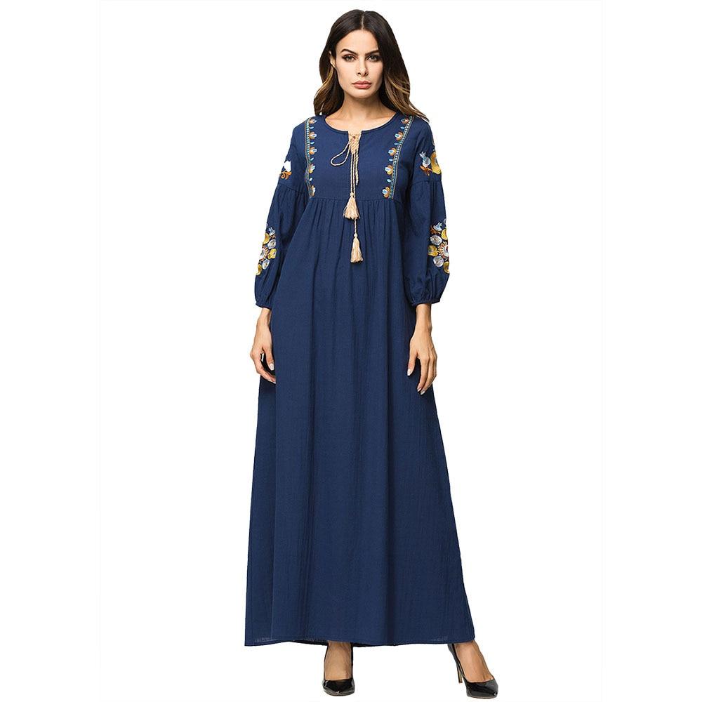 التطريز فستان باكستاني Musilm أنيق فستان طويل الخريف الشتاء عباية غير رسمية المرأة طويلة الأكمام شرابة ماكسي فستان فضفاض