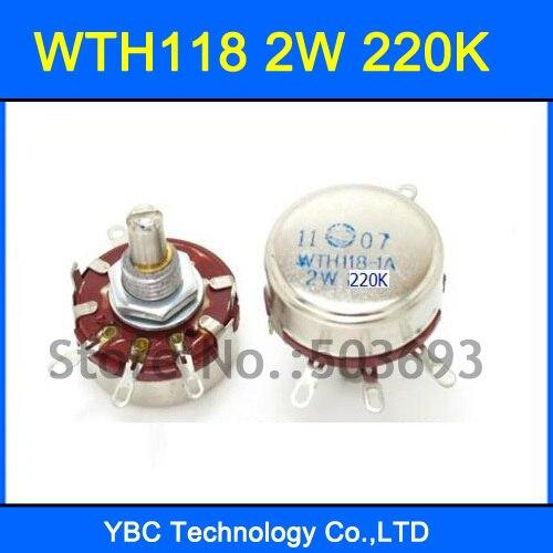 Envío gratis 10 unids/lote WTH118 1A 2 K 220 W cónico giratorio potenciómetro WTH118-1A