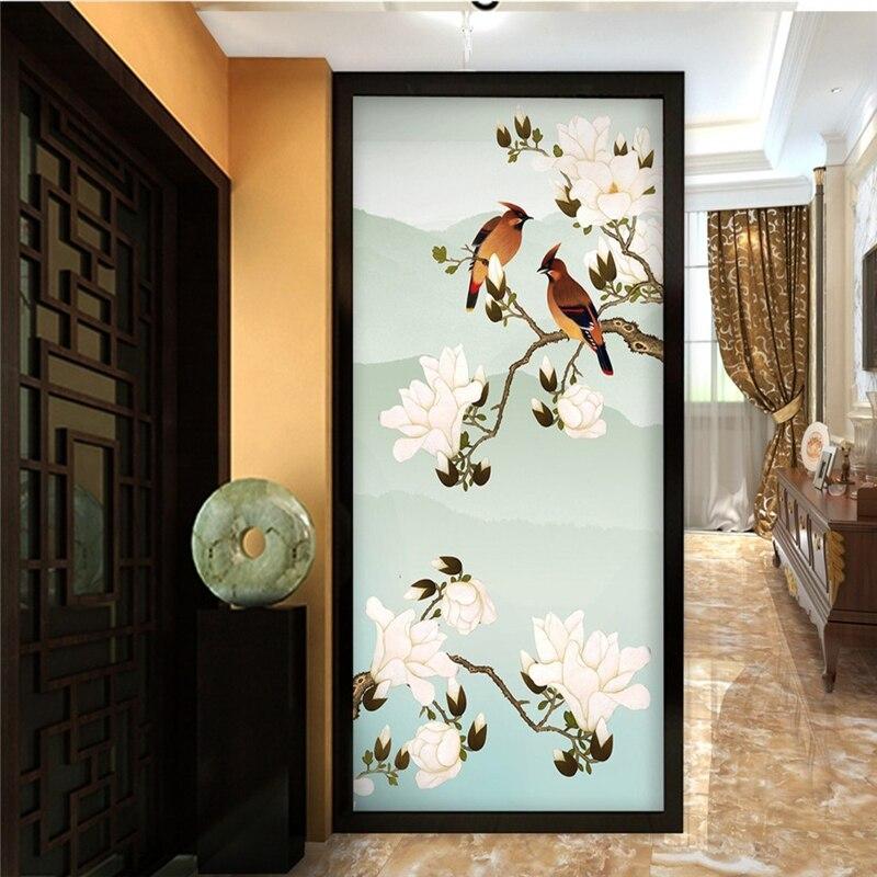 Papel pintado personalizado beibehang 3d pintado a mano flores y pájaros de...