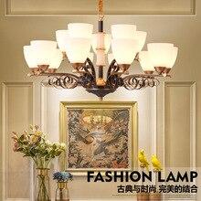 TUDA LED lustre Jade lustre salon chambre salle à manger en verre dépoli en alliage de Zinc lustre E27 110 V 220 V