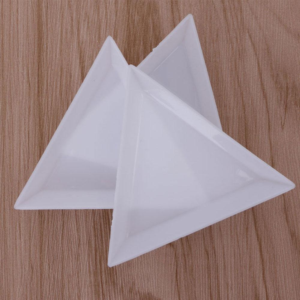10Pc Triangle/Round Rhinestones Beads Crystal Nail Art Sorting Trays Plastic Hot