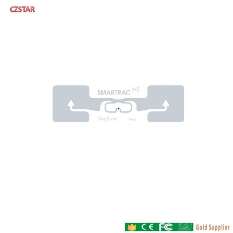Pasivos smartrac dogbone de largo alcance etiqueta rfid impinj monza 4D monza r6 epc 128bits uhf etiqueta rfid adhesiva mojado incrustaciones de 860-960MHZ