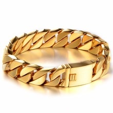 Огромный тяжелый мужской серебряный/золотой цвет Снаряженная кубинская звеньевая цепочка браслет из нержавеющей стали 316L браслет для байк...