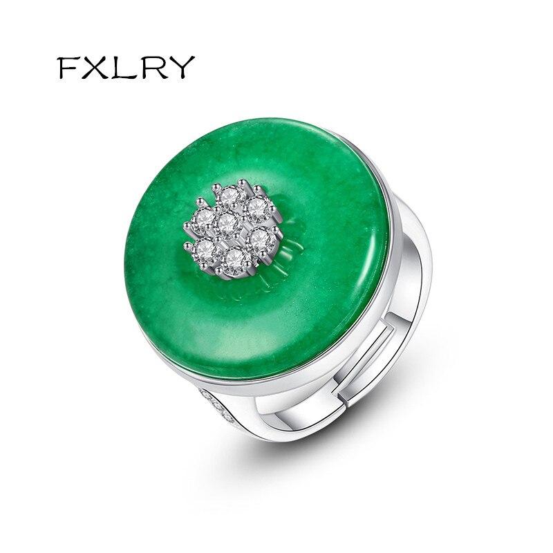 Anillo Circular ajustable FXLRY Vintage para bodas y citas para mujer, anillo ajustable de piedra principal verde CZ de lujo