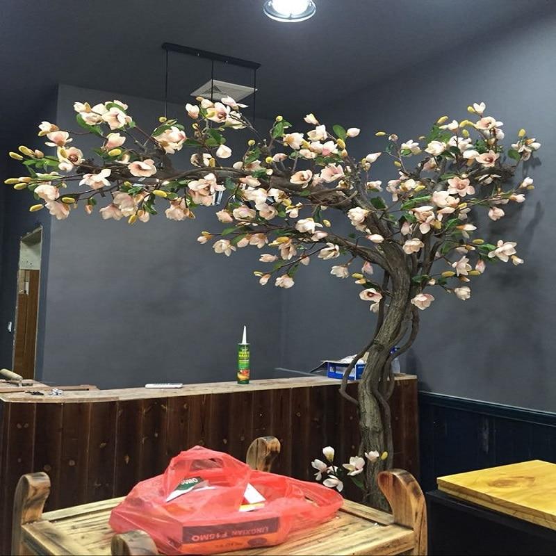 شجرة اصطناعية ماغنوليا نافذة شجرة خلع الملابس داخلي غرفة المعيشة النباتات الخضراء النمذجة من بونساي الأرض الزهور الاصطناعية