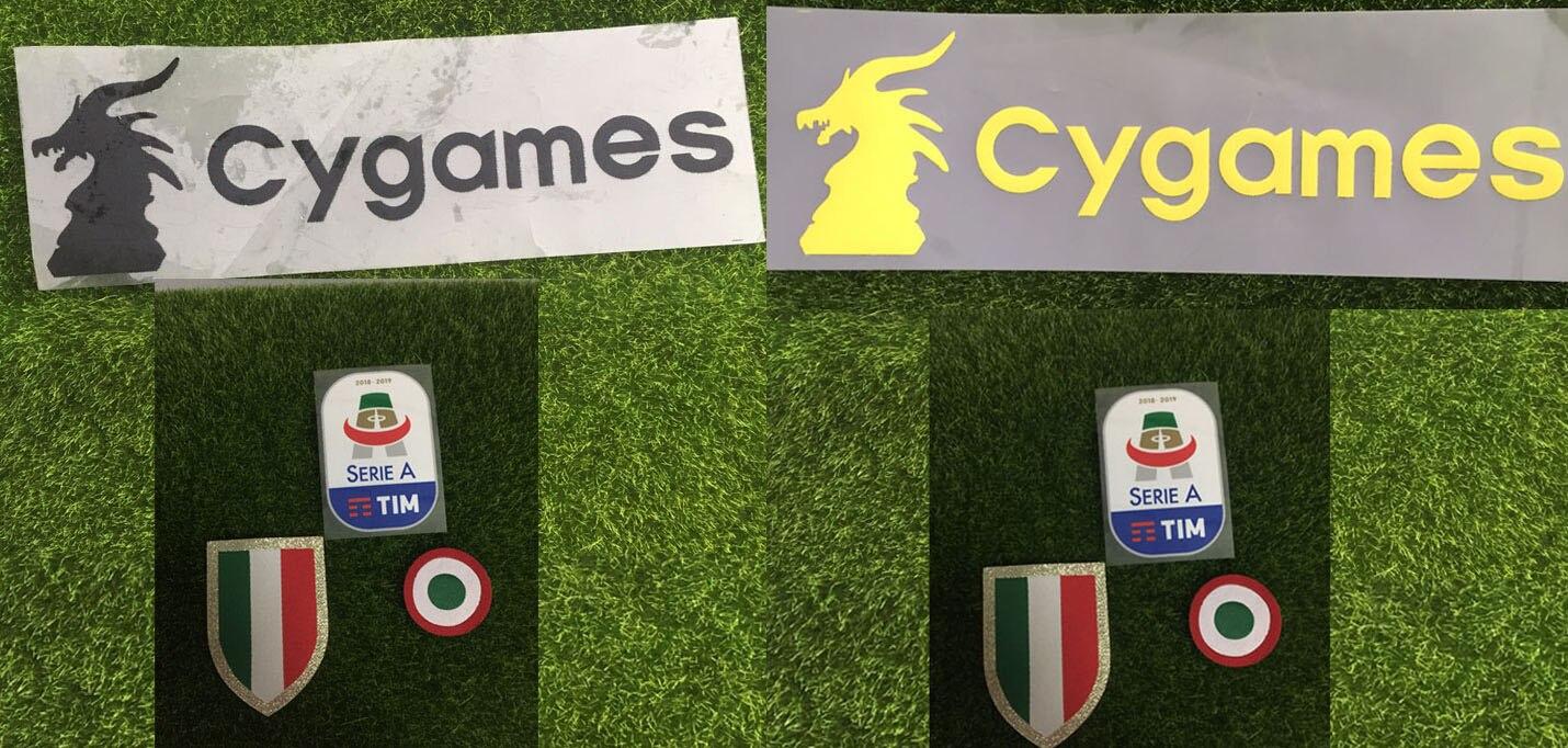Parche de silicona Serie A 2019 y parche rojo Coppa Italia círculo parche + parche de pecho Scudetto y parche Cygame insignia de transferencia de calor