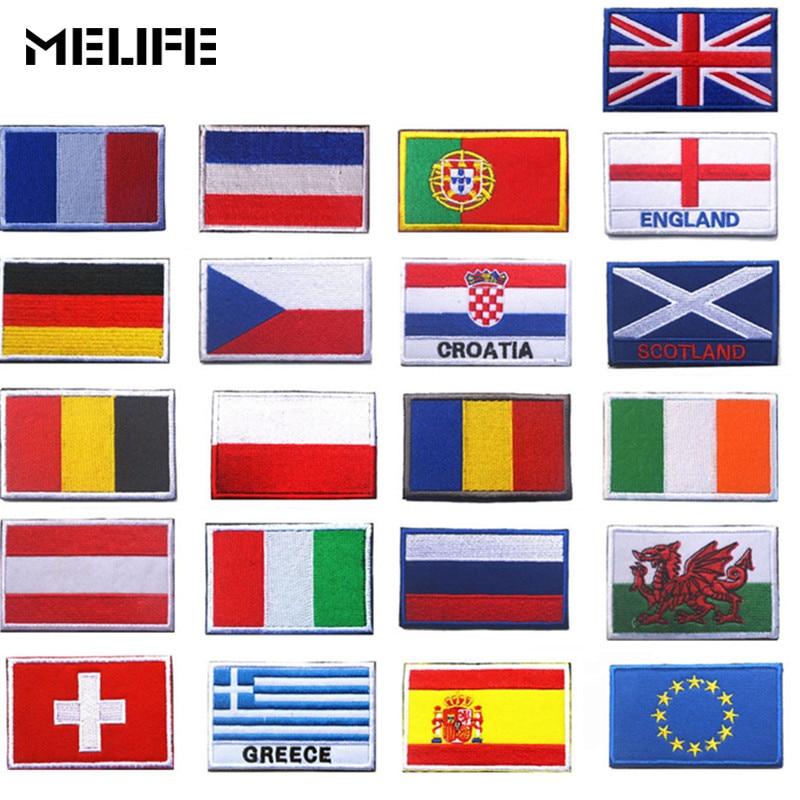 Accesorios de caza parches bordados bandera del país parche de táctica militar insignias Rusia Turquía Francia UE Países Bajos etiqueta con banderas
