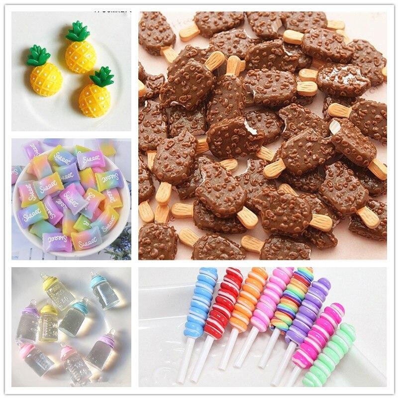 5 Pcs Mini Süßigkeiten Eis Nette Cartoon Spielzeug für Schleim Ton Charme Telefon Fall Puppe Spielzeug DIY Dekoration