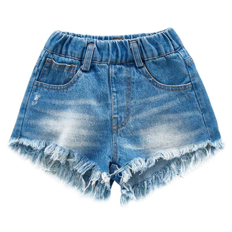 Pantalones cortos vaqueros para niñas, moda de verano 2019, pantalones cortos vaqueros rasgados con flecos para niñas, ropa de 3 a 14 años, Clj119